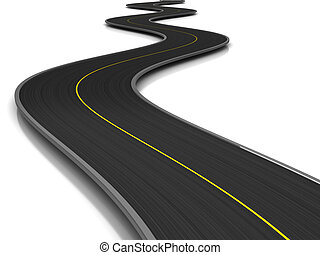asphalt road - 3d illustration of curved road over white...