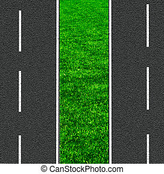 Asphalt road and green grass concept