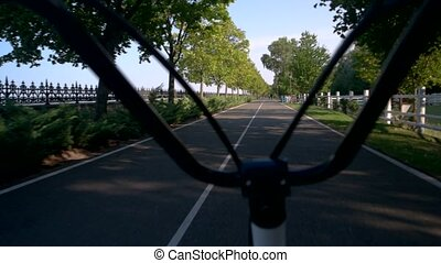 Asphalt road and handlebars. Park at daytime. Test drive of...