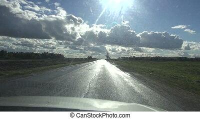 asphalt road and rain landscape