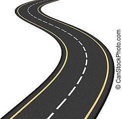 Asphalt Road - asphalt road on white background, vector ...
