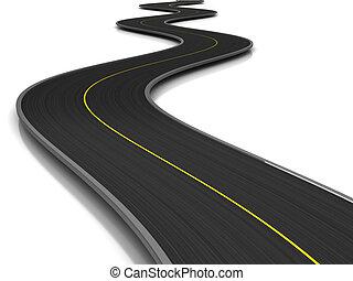 asphalt road - 3d illustration of curved road over white...