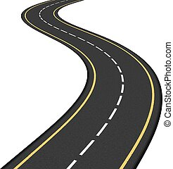 Asphalt Road - asphalt road on white background, vector...
