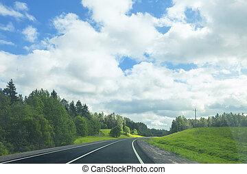 Asphalt road in a sunny summer day