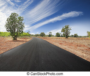 Asphalt road in countryside with blue sky and clouds