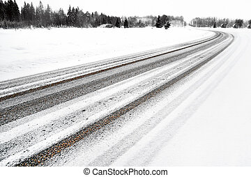 Asphalt road in winter