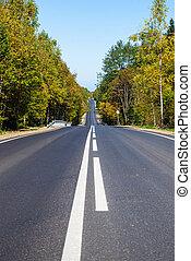 Asphalt road or highway with road markings
