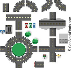 Asphalt road plan parts vector template.