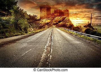 Asphalt road receding into the distance