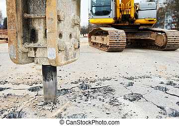 Asphalt Road repairing works with hydrohammer