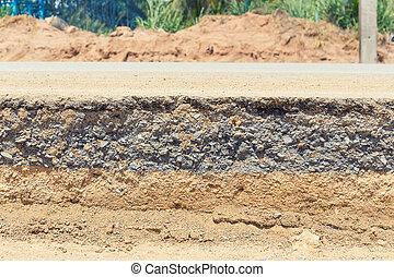 Asphalt road section