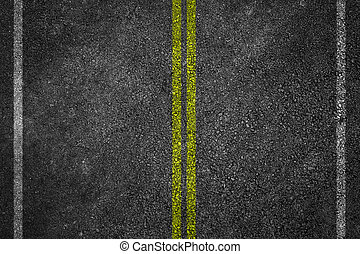 Asphalt Road Texture with White Stripes and yellow