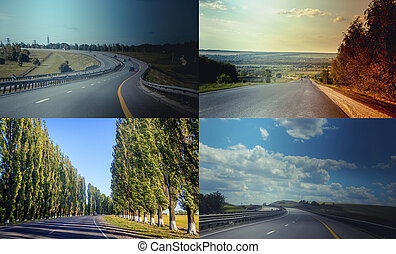 Asphalt road. Traveling around the country. Collage of the road. banner car road. movement on transport.