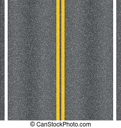 Asphalt road vector texture with marking lines.