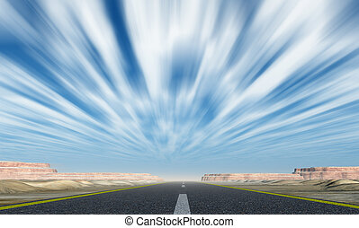 Asphalt road with motion clouds