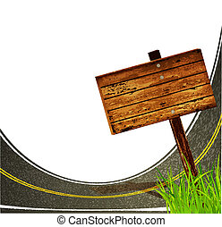 asphalt road with to pointing wooden sign on the white background