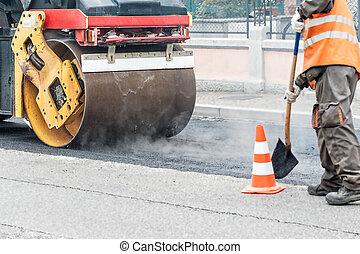 asphalt, schwer , compactor, bürgersteig, straße, rolle, vibration, arbeiten, reparatur