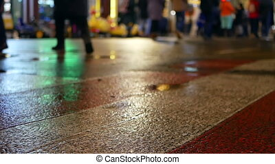 Asphalt silhouettes rain - Reflection silhouettes of...