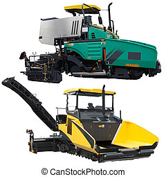 asphalt spreading machine under the white background