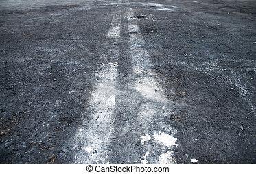 asphalt - Black dirty asphalt with white lines