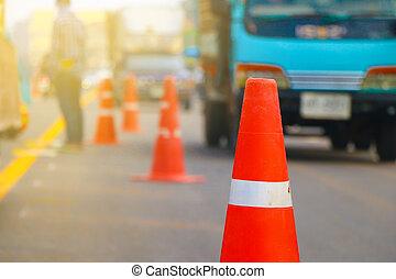 Asphalt under construction - Worker operating asphalt paver...