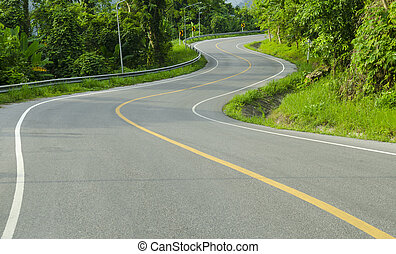 Asphalt winding curve road in nature