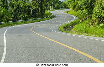 Asphalt winding curve road in nature