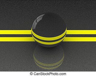 Asphalt with a high quality coating with a reflection of the ball