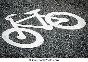 Asphalt with bicycle sign (swedish type)