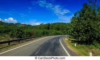 asphalte, appareil photo, forêt, long, mouvements, route