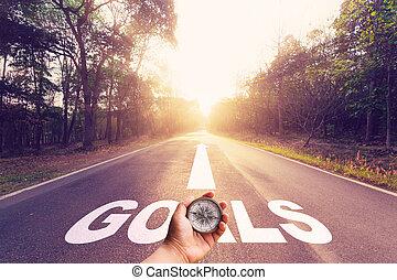 asphalte, concept., main, vide, tenue, compas, route, buts