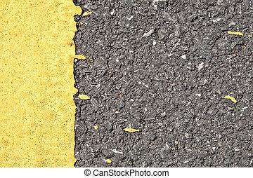 asphalte, frontière, texture, jaune