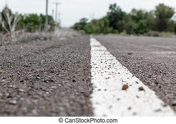 asphalte, haut fin, ligne blanche, route