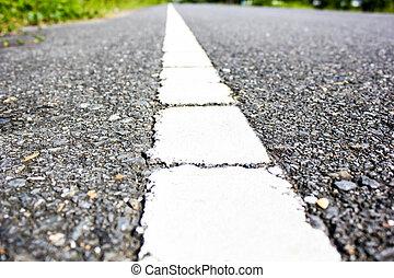 asphalte, haut, surface, fond, fin, ligne, blanc, route
