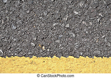 asphalte, ligne, texture, jaune