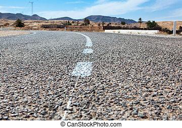 asphalte, lignes, haut fin, blanc, route