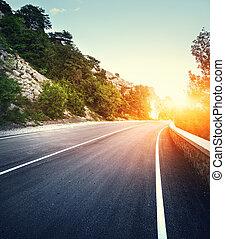 asphalte, paysage, instagram, toning., route, montagne