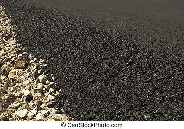 asphalte, récemment, construit, route