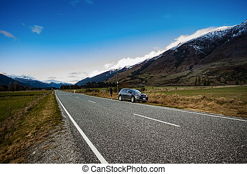 asphalte, southland, autoroute, parc national, zélande,...