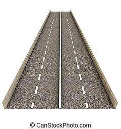 asphalte, sur, illustration, fond, blanc, morceau, route, 3d
