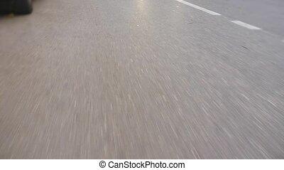 asphalte, trafic route, chaussée, sommet, marquages, vue