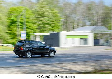 asphalte, voiture, Arbres, mouvement, vert, noir, route