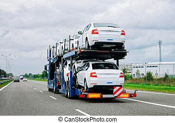 asphalte, voiture, porteur, route, pologne, camion