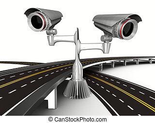 asphalted, 路, 由于, 照像機, 上, white., 被隔离, 3d, 圖像