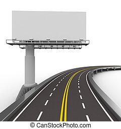 asphalted, camino, con, billboard., aislado, 3d, imagen