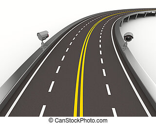 asphalted, estrada, com, câmera, ligado, white., isolado,...