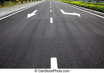 asphalted, frecce, superficie strada, segni