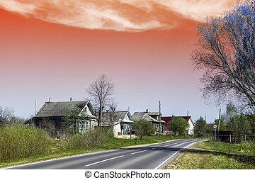 Asphalted road in village
