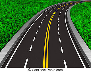 asphalted road on grass. Isolated 3D image