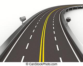 asphalted, strada, con, macchina fotografica, su, white., isolato, 3d, immagine